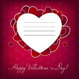 Happy Valentines Day card with heart. Vector illustration Stock Photos
