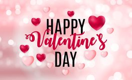 Happy Valentines Day Card with Heart. Vector Illustration Stock Images
