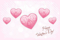 Happy Valentines Day Card with Hearts Royalty Free Stock Photo