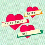Happy valentines day card with hearts, ribbons, text. Happy valentines day card with heart, ribbons, text. Vector retro background Royalty Free Stock Photography