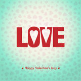 Happy Valentines day card, i love you, font type Royalty Free Stock Photo