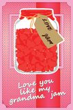 Happy Valentines Day Card. Jar with red hearts greatings card. Vector illustration Royalty Free Stock Photos