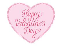 Happy Valentines Day Card with lace heart. Happy Valentines Day  Card vith script text on a pink lace bordered heart Royalty Free Stock Image