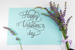 Happy Valentines day card with lavender flowers Stock Photo
