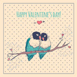 Happy Valentines day card with love birds and Stock Photo
