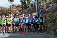 Wicklow, Ireland. 24th Mar 2019. Race start for Wicklow Half Marathon, runners getting ready for the marathon stock photography