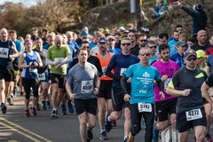 Wicklow, Ireland. 24th Mar 2019. Race start for Wicklow Half Marathon, runners started the marathon stock photos