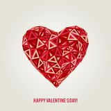 Happy Valentines Day card with low poly heart Royalty Free Stock Photos