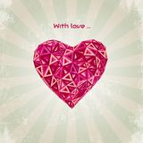 Happy Valentines Day card with low poly heart Royalty Free Stock Photo