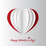 Happy Valentines Day card. Paper heart. Vector Stock Photo