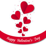 Happy Valentines Day card with paper hearts Stock Image