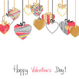 Happy Valentines day card with patterned hearts. Royalty Free Stock Photography