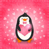Happy Valentines day card with penguin and heart Stock Photo
