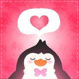 Happy Valentines day card with penguin and heart Stock Image