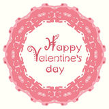 Happy valentines day card with pink abstract frame Stock Image