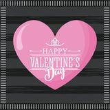 Happy valentines day card pink cute heart and dark background Royalty Free Stock Photography