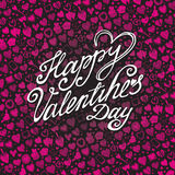 Happy Valentines day card with pink Heart pattern Royalty Free Stock Photography