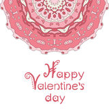 Happy valentines day card with pink mandala and Stock Photo