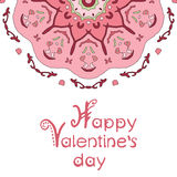Happy valentines day card with pink mandala and Royalty Free Stock Photo