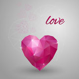 Happy Valentines Day card. Polygonal heart. Vector Royalty Free Stock Photos