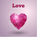 Happy Valentines Day card. Polygonal heart. Vector Royalty Free Stock Photography