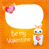 Happy Valentines day card with rabbit and heart Royalty Free Stock Image