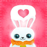 Happy Valentines day card with rabbit and heart Stock Images