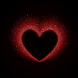 Happy Valentines Day Card with Red Glittering Star. Dust Heart, Red Sparkles on Black Background Royalty Free Stock Image