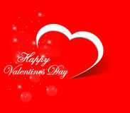 Happy Valentines Day card, red heart background vector illustration - eps10 Royalty Free Stock Photo