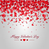 Happy valentines day. Card of red hearts falling. Love card made of lots of hearts falling from the sky and a text of happy valentines day Stock Photo