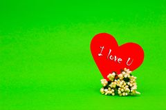 Happy Valentines Day card with red paper heart. On green background Royalty Free Stock Photos
