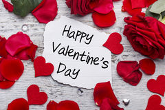 Happy Valentines day. Card with red rose Stock Photos