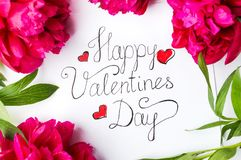Happy Valentines day card with red roses on white. Handwritten Happy Valentines day card with red roses on white royalty free stock photo