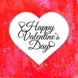 Happy Valentines Day card with red watercolor background. Vectorized watercolor drawing Royalty Free Illustration