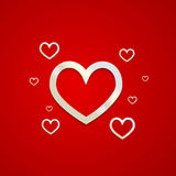Happy valentines day card silver hearts Royalty Free Stock Photography