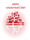 Happy Valentines Day card with stack of gifts Royalty Free Stock Photos