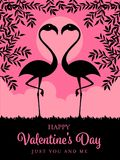Happy Valentines day card template with Silhouette flamingos and branch on pink background vector design Stock Images