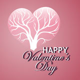 Happy Valentines Day. Card with tree of love Royalty Free Stock Photo
