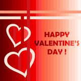 Happy Valentines day card with two hearts. And stripes Stock Photo