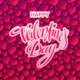 Happy Valentines Day Card. Vector illustration. Happy Valentines day Hand Drawn lettering. Abstract background with bokeh, blur and shine effect. Valentines Day Royalty Free Illustration