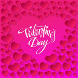 Happy Valentines Day Card. Vector illustration. Happy Valentines day Hand Drawn lettering. Abstract background pink hearts. Handwritten calligraphy text on red Royalty Free Illustration