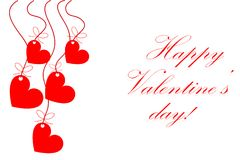 Happy Valentines day card vector with red hearts Stock Photo