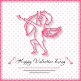 Happy valentines day cards with amur on background Stock Photo