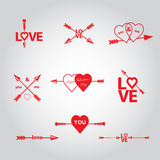 Happy valentines day cards with  arrow. Stock Photo