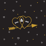 Happy valentines day cards with  arrow. Royalty Free Stock Photo