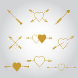 Happy valentines day cards with  arrow. Stock Photography