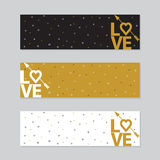 Happy valentines day cards with  arrow. Royalty Free Stock Photography