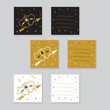 Happy valentines day cards with  arrow. Royalty Free Stock Images