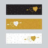 Happy valentines day cards with  arrow. Royalty Free Stock Image