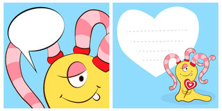 Happy valentines day cards with cute cartoon monster girl, heart, speech bubble. Royalty Free Stock Images
